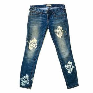 Free People Sz 26 rose blue denim skinny jeans